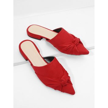 Red Pointed Toe Knot Suede Mules