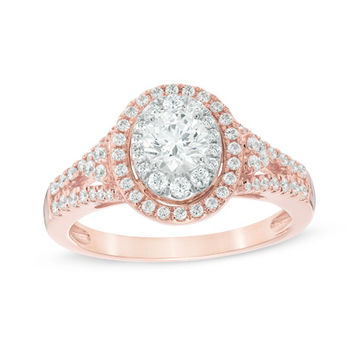1 CT. T.W. Diamond Oval Frame Engagement Ring in 14K Two-Tone Gold