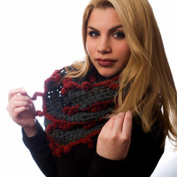 gray cowl woman infinity scarf  winter accessory gray green scarf with red orange fringes