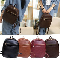 Cute Small Fresh PU leather Schoolbag Lovely Unisex Backpack Shoulder Bag [8081690439]