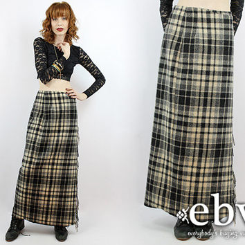 Vintage 90s High Waisted Wool Maxi Skirt Plaid Maxi Skirt High Waisted Skirt High Waist Skirt Wool Skirt Plaid Wool Skirt Blanket Skirt