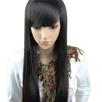 Christmas New Year Special Offer MelodySusie Beautiful Short Dark Brown With Inclined Bangs Stunning Wig Full Wig + MelodySusie Wig Cap + MelodySusie Wig Comb