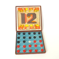Board Game 12. Rare Vintage Travel Game In Bakelite Box. Full Set Soviet Board game. Table Game With Magnetic Checkers. Collectible Game.