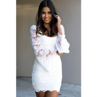 SIMPLE - Fashionable Women Lace White One Piece Dress b3296