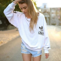 """Adidas"" Women Fashion Top Sweater Pullover Sweatshirt White"