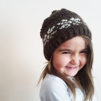 Knitting hat for boys and girl / Baby Hat / Wool Hat / Handmade with brown and cream soft wool blend yarn / unisex hat / snowflake pattern