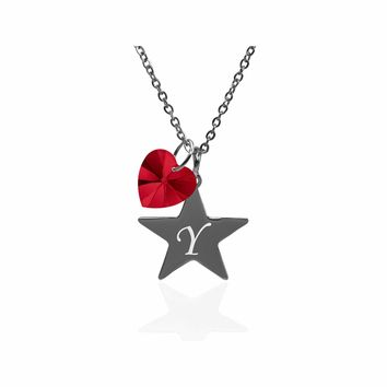 Pink Box Dainty Star Initial Necklace Made With Crystals From Swarovski  - Y