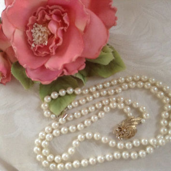"Faux Pearl Necklace Japan knotted rhinestone clasp double-strand goldtone vintage large pearls white bridal gift necklace 28"" flower gift"