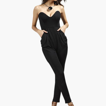 Pockets Strapless Woman's Jumpsuit