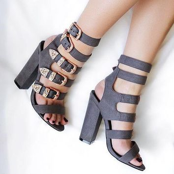 Hasp Straps Open Toe High Chunky Heels Sandals