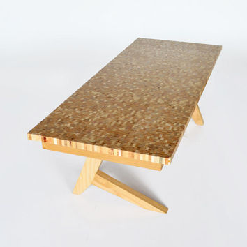 Reclaimed wood Pixelated Coffee Table with opposing cantilevered oak legs