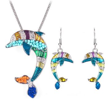 Multicolor Dolphin Jewelry Necklace Pendant Earrings Set
