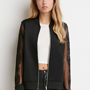 Embroidered Mesh-Sleeve Jacket