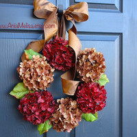 fall hydrangea wreaths for front door autumn wreaths, Thanksgiving wreaths decorations outdoor wreaths