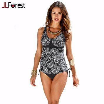 LMF57D JLForest Black Print Two Piece Swimwear Women Sexy Back Hollow Swimsuit Plus Large Size Ethnic Style Tankinis 2017 Bathing Suits