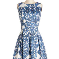 Closet Mid-length Sleeveless Fit & Flare Ain't We Haute Fun? Dress in Paisley
