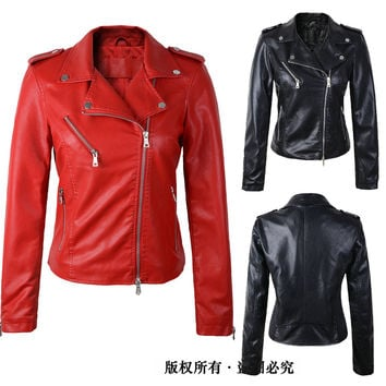 leather jacket women 2017 spring women leather clothing outerwear jackets and coats ladies red leather coat motorcycle leather
