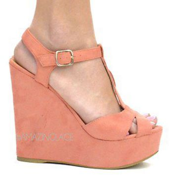 Coral Suede Platform Wedge Heel Sandals Pretty Peach Pink Summer Fashion