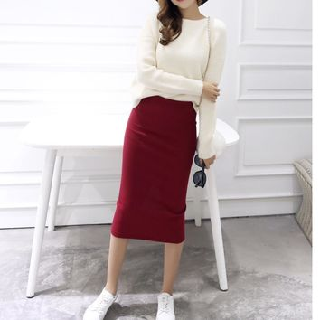 Windreama Elegant Bodycon Skirts Womens Spring Autumn Kintted Skirt Slit Step Stretch Slim Thin Female Long