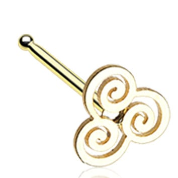 Golden Color Trinity Swirl Nose Stud Ring - 20 G - Sold as a Pair