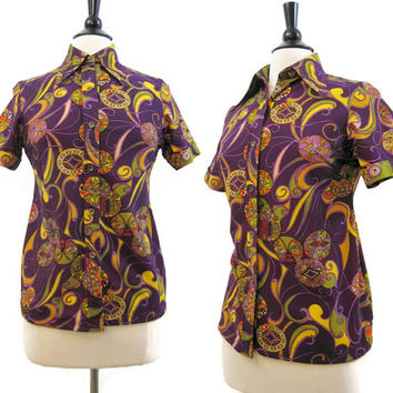 60s 70s Shirt Vintage Psychedelic Floral Polyester Knit Top Blouse M L