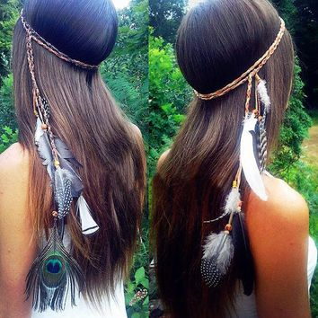 LMFON Peacock Feather Beaded Tassel Hair Accessories Hair Rope