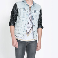 BLEACHED DENIM JACKET WITH FAUX LEAVER SLEEVES - Coats and Jackets - Man | ZARA Israel