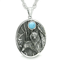 Mother and Son Wolf Family Moon Positive Wild Woods Energy Simulated Turquoise Pendant 18 Inch Necklace