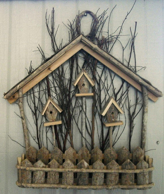 Wooden Birdhouse Wall Decor : Rustic vintage wood birdhouse wall decor from designfrills on