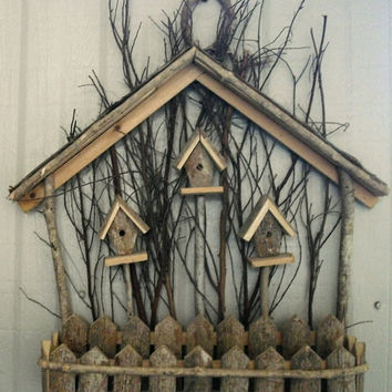 Rustic Vintage Wood Birdhouse Wall Decor, Natural wood birdhouse wall hanging, folk art, nature wall decor, vintage hand crafted wall art,