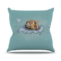 "Carina Povarchik ""Sleepy Guardian"" Owl Outdoor Throw Pillow"