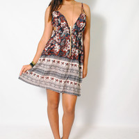 (amc) Tied on shoulder plunging boho print dress