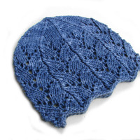 Dark blue laced beanie, navy color wool hat for kids, Choose your size from newborn to teenager