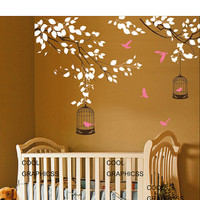 Branches with birds cage Vinyl Wall Decal Sticker