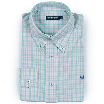Idlewild Gingham Performance Button Button Down in Mint & Pink by Southern Marsh
