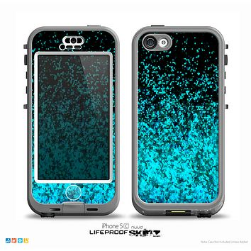 The Black and Turquoise Unfocused Sparkle Print Skin for the iPhone 5c nüüd LifeProof Case