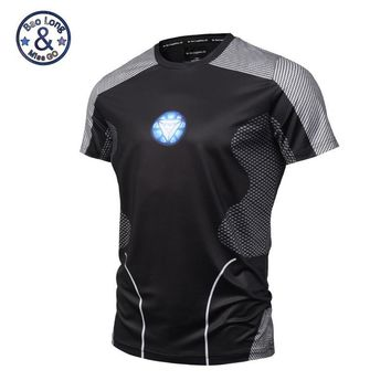 New Star Print Breathable Marvel Comics Iron Man Compression Shirt Super Hero Clothes Summer T shirt The Avengers Costume
