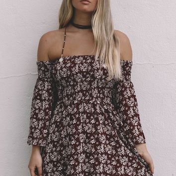 Just Stay Burgundy Smocked off the shoulder dress *ready to go live*