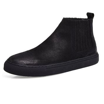 Genuine Leather Chelsea Men Shoes British Style Men Boots Ankle High Quality Fashion Western Casual