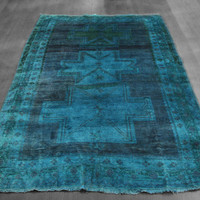 5x7 Overdyed Teal Vintage Kazak Rug woh-2643 - West Of Hudson - Unique Rug Collection