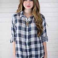 Blue Checkered Flannel Top