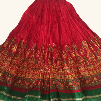 Red green Maxi Skirt Long Skirt Indian Bollywood Skirt Long Tribal Skirt Ethnic Skirt Indian Skirt Embriodery border