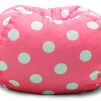 "Classic 88"" Candy Pink W/White Dots Bean Bag"