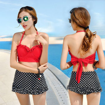High Waist Dot TWO-PIECE Tankini Swimsuit