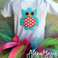 Look Whoos One Pixie 1st Birthday Tutu Outfit - Pink, Blue, Green and Black Pixie Tutu with Owl Onesuit and Matching Hair Bow for Baby Girl