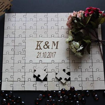 Wedding Guest Book wedding puzzle  alternative guestbook puzzle 3D puzzle personalized puzzle custom puzzle tree guestbook puzzle  mementos