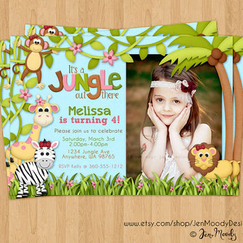 Jungle Birthday Invite, Safari Party Invitation with Photo - Printable, Digital, Custom, Monkey, Giraffe, Zebra, Lion, Girl, Pink
