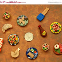 Mini Magnet Set - Chinese Buffet 12 Piece Fridge Decorations Miniature Food Fridge Magnets Kitchen Decor