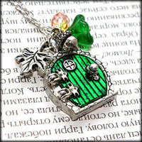 Bag End Hobbit hole Door Locket Necklace. Fairy Door Fantasy. Lord of the Rings