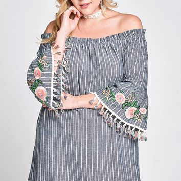 Off Shoulder Striped Shift Dress w/floral Applique Flute Sleeves & Tassle Trim Hem